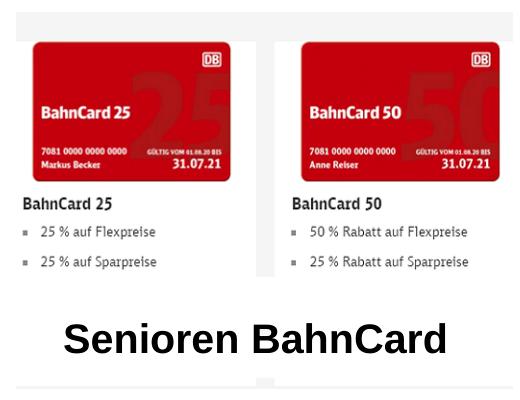 Bahncard 25 und 50 für Senioren